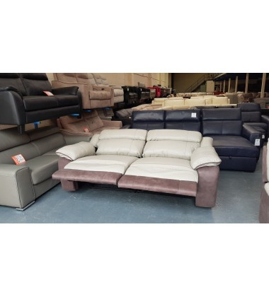 Ex-display DFS Saint grey leather and fabric manual recliner 3 seater sofa