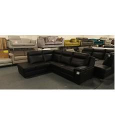 Ex-display Serento black leather electric recliner corner sofa with storage unit