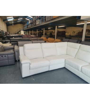 Ex-display Serento white leather electric recliner corner sofa