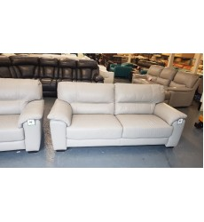 Ex-display Shades grey leather 3+2 seater sofas