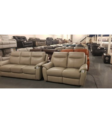 New Snug grey leather standard 3 seater sofa and electric 2 seater sofa