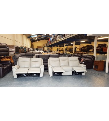 Ex-display Snug grey leather electric recliner 3+2 seater sofas