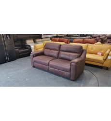 Ex-display Italian Strauss brown leather electric recliner 3 seater sofa