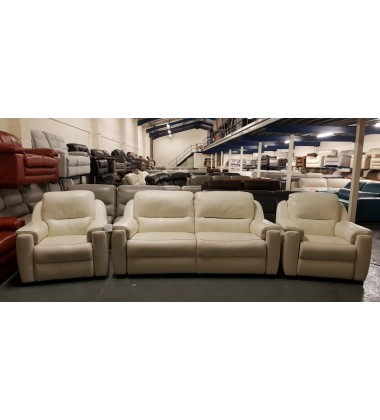Strauss cream leather electric 3 seater sofa, electric chair and standard chair