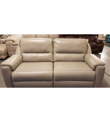 New Italian Strauss grey leather electric recliner 3 seater sofa