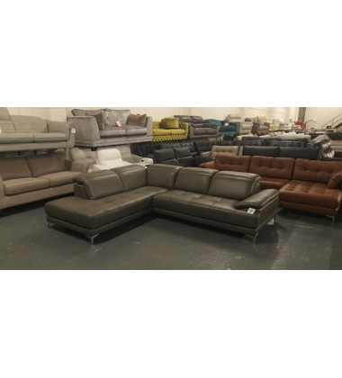 New Thornhill grey leather corner sofa