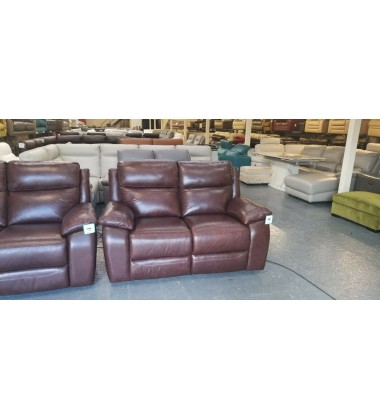 Ex-display Warren brown leather electric recliner pair of 2 seater sofas