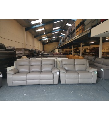 Ex-display Warren grey leather electric 3 seater sofa and manual 2 seater sofa
