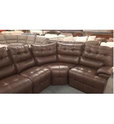 Ex-display Sofology Westwood brown leather manual recliner corner sofa